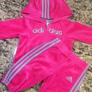 Baby Girl Adidas Pink Velour Jacket /Pant Set 9M